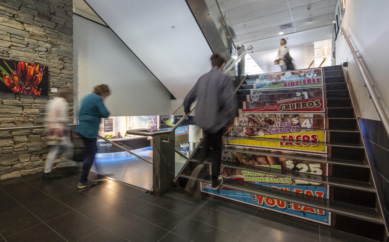 Dunedin Airport Advertising, Bishopp Airport Advertising, Stair Wrap, Advertising,