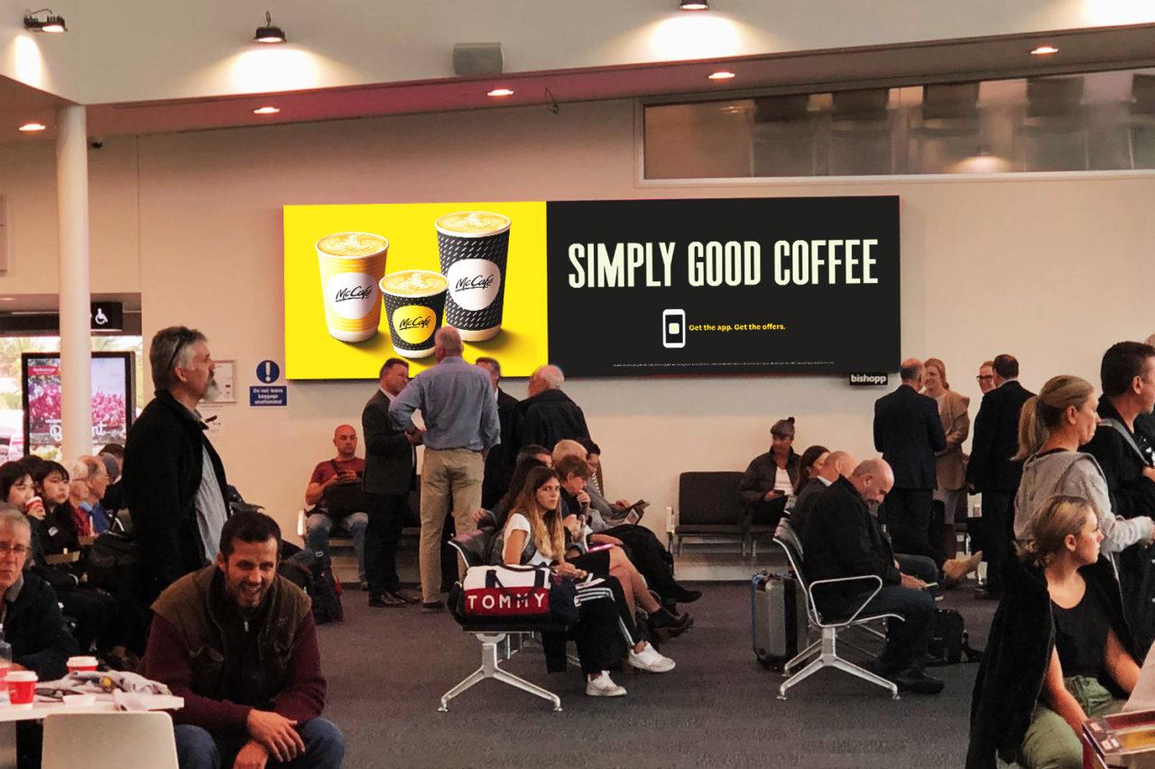 Marlborough Airport Advertising, Blenheim Airport Advertising, Bishopp Airport Advertising, Extra Large Lit Fabric Display
